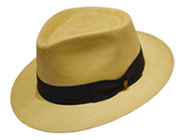 Camel Diamond: Casual, light tan Panama hat with a black band and bow