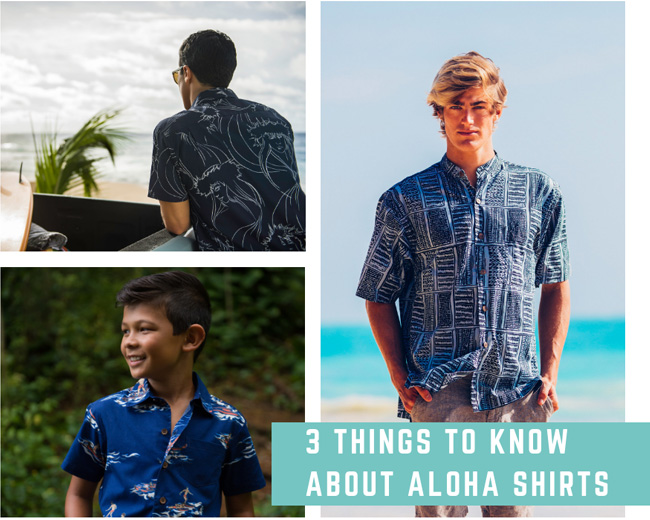 An image collage of 3 men wearing different short-sleeve Hawaiian shirts available at Waikīkī Beach Walk in Honolulu, HI