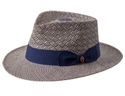 Kerouac: White and navy braided Panama hat with a navy band and bow