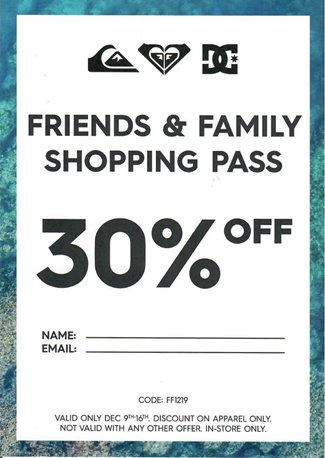 Quiksilver December 2019 Friends & Family Shopping Pass.