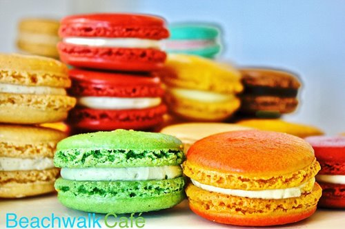 An assortment of colorful macarons from Beachwalk Cafe