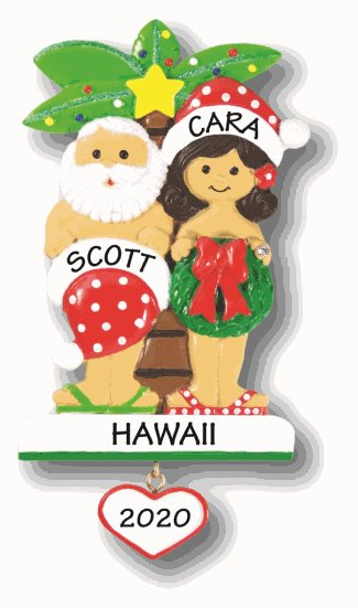 Santa holding his santa hat and Mrs. Claus holding a wreath in front of a Christmas-themed palm tree.