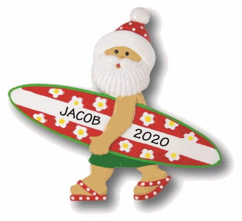 Santa ornament holding a green & red surfboard with the custom name Jacob 2020 written on it.