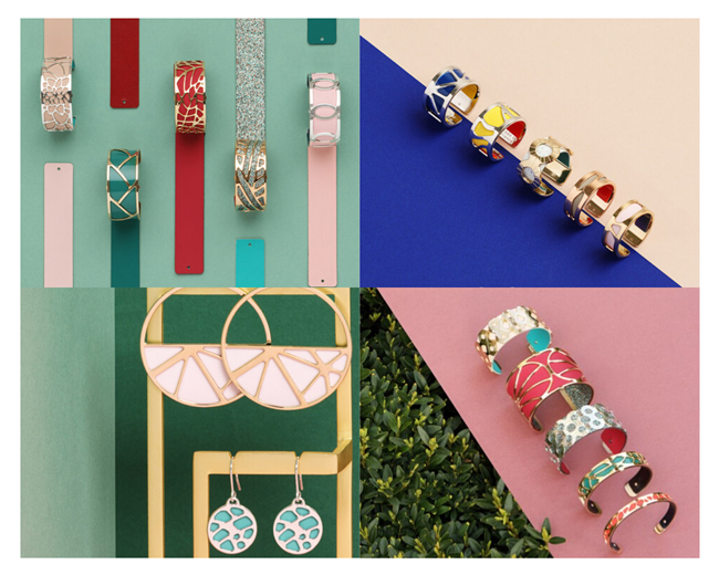 Collage of colorful bracelets, earrings, & rings with gold embellishments.
