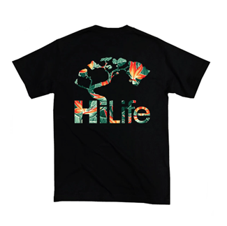 Black T-shirt with green & orange Bird of Paradise flowers within the shape of the HiLife logo.