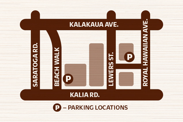Map graphic indicating 2 parking locations for Waikiki Beach Walk