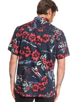 Dark navy button-up shirt with Hawaii holiday motifs such as red poinsettia flowers & a surfing Santa.