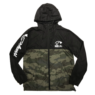 Windbreaker that's half black on top & half camo print on the bottom with original HiLife logo on chest & script logo on right sleeve.