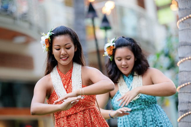 2 hula dancers performing at Waikiki Beach Walk
