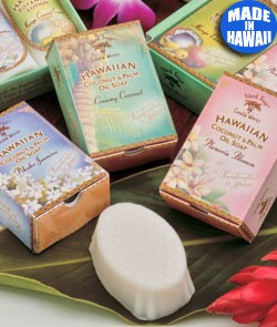 Boxed Hawaiian soaps in a range of tropical fragrances.