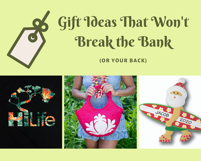 Green blog header image featuring a collage of a black HiLife tee, pink quilted purse, & surfing Santa Christmas ornament.