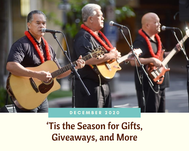Header image featuring 3 men in black shirts wearing lei and playing the guitar while singing into microphones