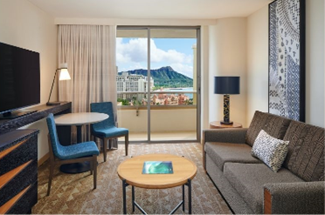 Chic living area of a suite at Embassy Suites with a view of Diamond Head from the balcony.