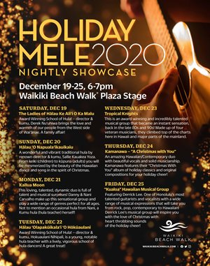 Holiday Mele 2020 Nightly Showcase flyer showing nightly schedule of performers from Dec 19-25, 6:00 - 7:00 pm at Waikiki Beach Walk