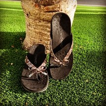 Black Vionic slippers propped up against the base of a palm tree