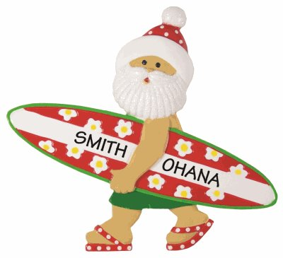 Hawaiian Christmas ornament of Santa carrying a surfboard that has been personalized with a name