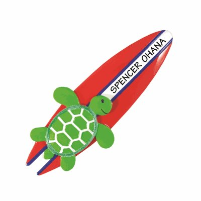 Christmas ornament of a green turtle riding a red & white surfboard that is customized with the sample name, Spencer Ohana
