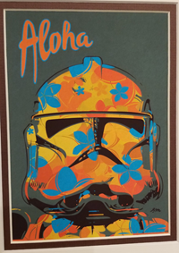 Multicolored orange, blue, & yellow art print of a stormtrooper helmet with the word aloha written above it.