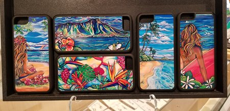 5 iPhone cases featuring various paintings of scenery in Hawaii.