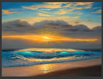 Oil painting of a wave crashing on the beach at sunset.
