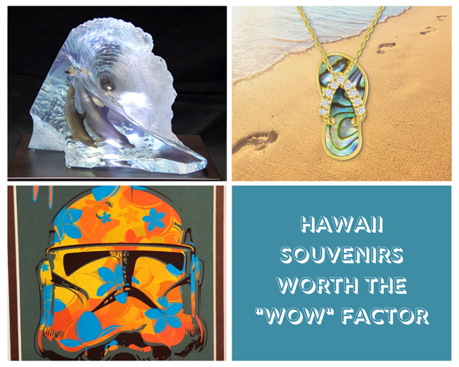 An image collage featuring a sculpture of dolphins in a wave, storm trooper art print, & gold Hawaiian slipper pendant available at Waikīkī Beach Walk® stores in Honolulu, HI.
