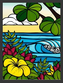 Vibrant-colored matted art print of a rolling ocean wave behind hibiscus flowers & plants.