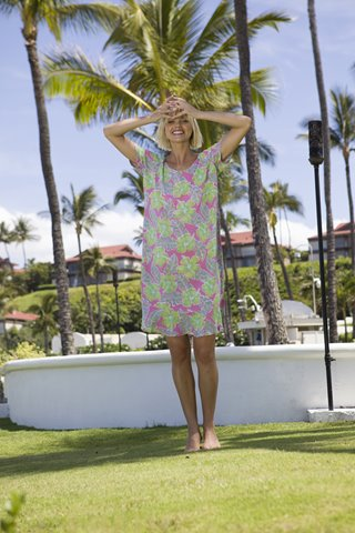 Pink & green short-sleeve dress with hibiscus flower print from Blue Ginger