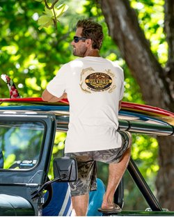 Man wearing a tee with the Survivor tv show logo & 4 animal motifs on the back